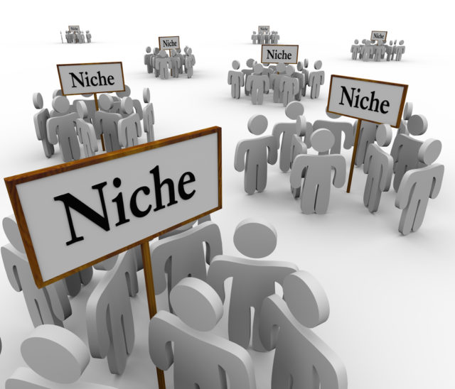 Many Niche Groups of People Clustered Around Niches Signs