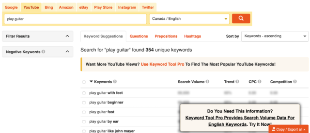 YouTube FREE Keyword Tool With Results