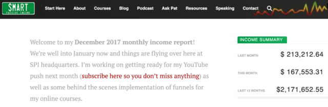Pat Flynn December 2017 Income