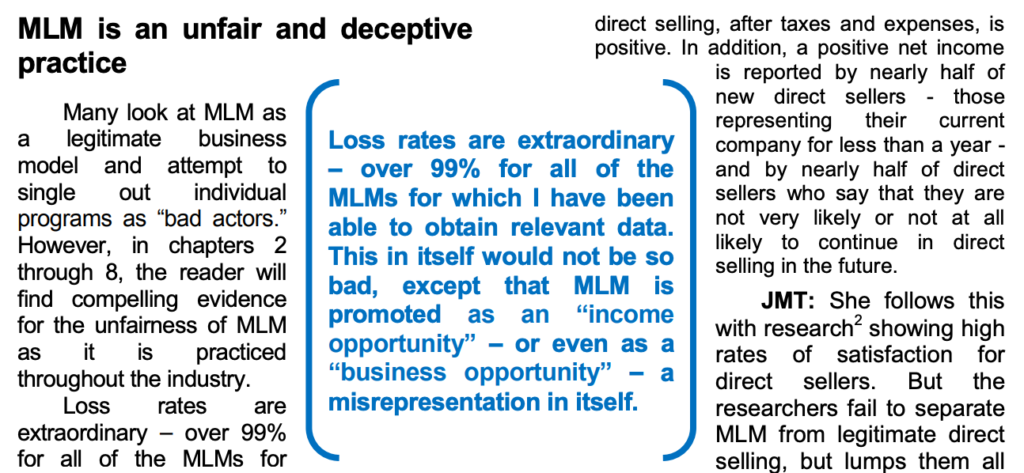 FTC report say over 99% MLMs will loose money