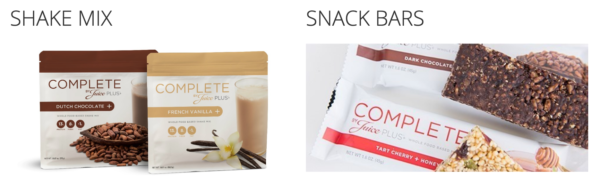 Complete is made up of Shake Mix and Snack Bars