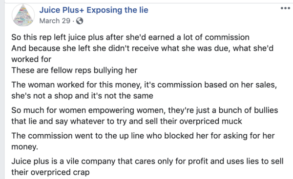 On Facebook a rep who left and only wanted her commissions paid