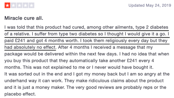 This person was told the product would cure diabetes