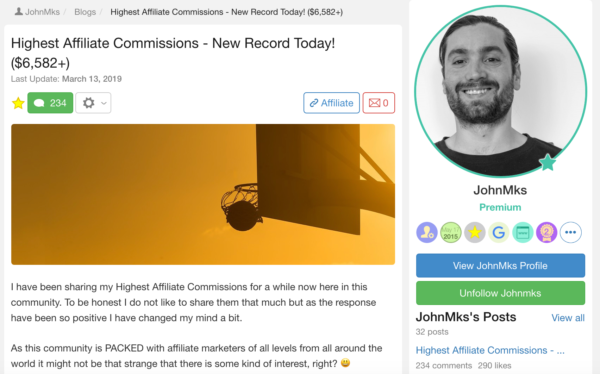 John makes his new record of his highest affiliate commissions $6,582