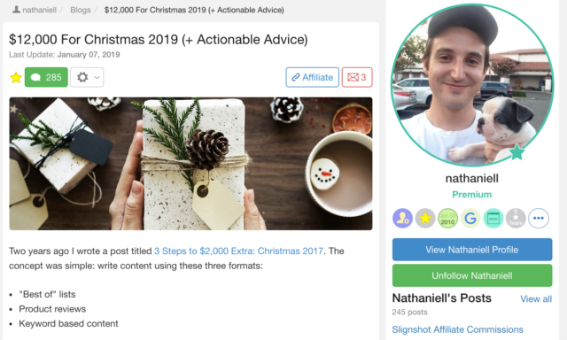 Nathaniell made $12k for Christmas 2019 and actionable advice