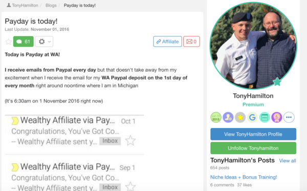 Tony's Payday is today at Wealthy Affiliate