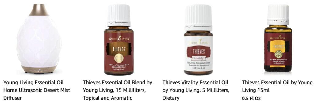 Some of Young Living's essential oils and diffuser