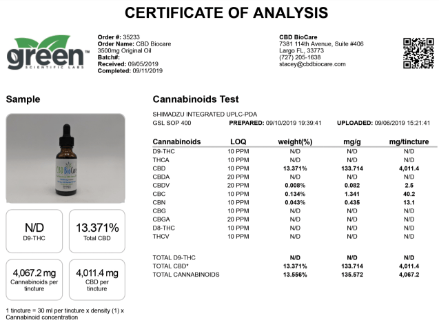 Image of QR Certificate of Analysis by a 3rd Party