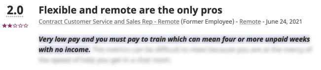 Indeed Negative Testimonial - Low pay with long periods of training