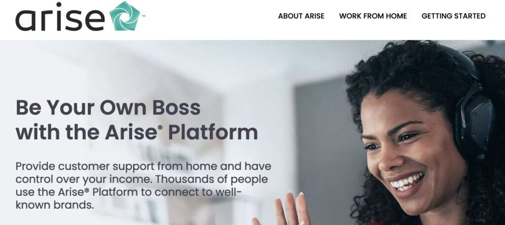Arise Work From Home website image