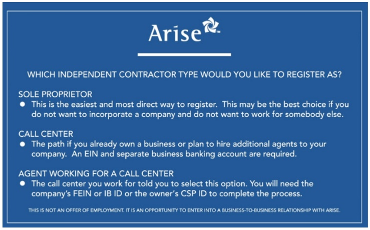 Determine your contractor type for Arise Work From Home