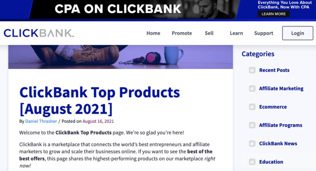 Image of ClickBank site